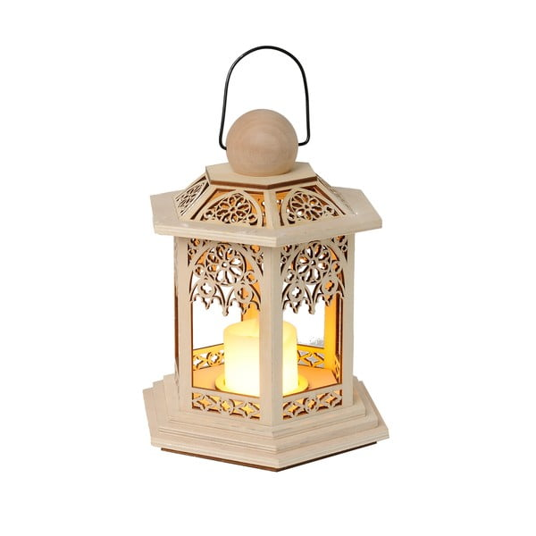 Brązowy lampion LED Best Season Lace, wys. 20 cm