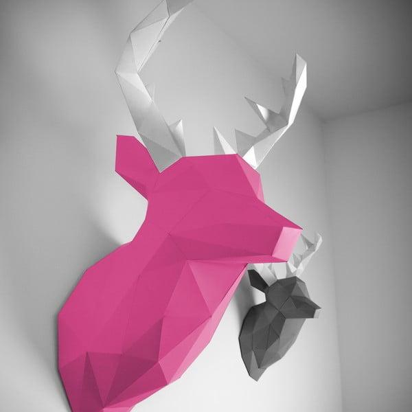 Papírová trofej Jelen XL, růžovo-bílý