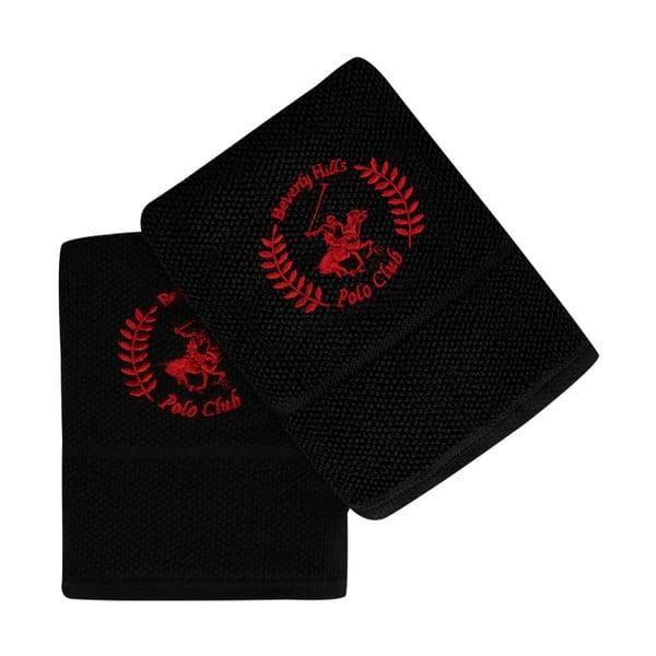 Sada dvou černých ručníků Beverly Hills Polo Club, 100x 50cm