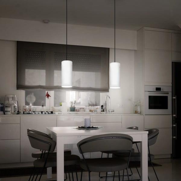 Bílostříbrné závěsné svítidlo s bílým kabelam a bílou objímkou Sotto Luce  Paipu