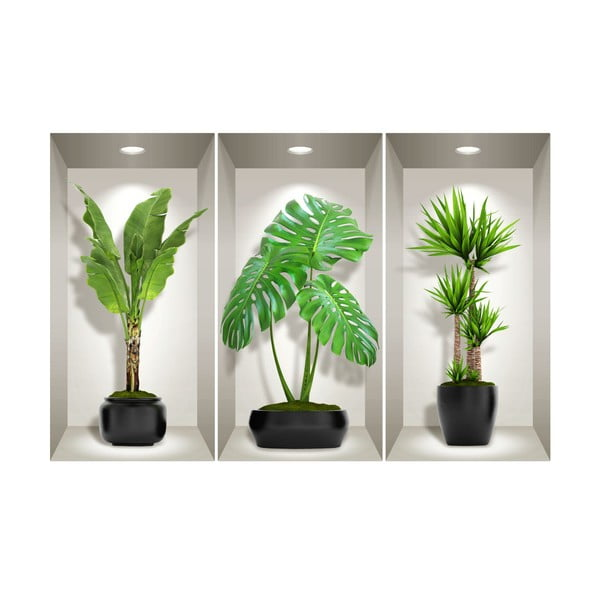 Sada 3 3D samolepek na zeď Ambiance Green Plants