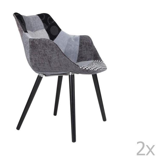Twelve Patchwork szürke szék szett, 2 db-os - Zuiver