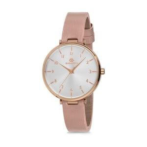 Dámské hodinky s růžovým koženým řemínkem Bigotti Milano Sarah