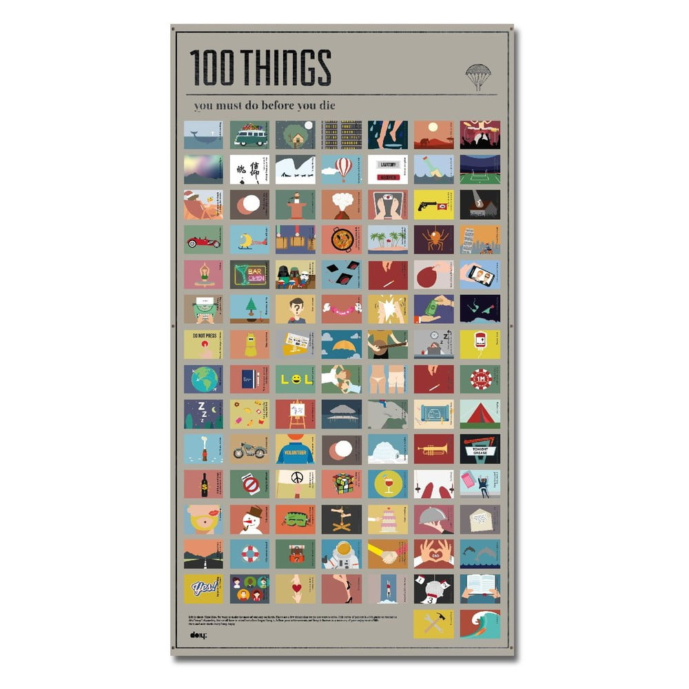 Plakát DOIY 100Things You Must Do, 54,5 x 98 cm