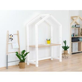 Birou din lemn în formă de casă Benlemi Stolly,97x39x133cm, alb imagine