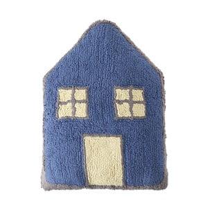 Modrý bavlněný ručně vyráběný polštář Lorena Canals Little House, 34x52cm