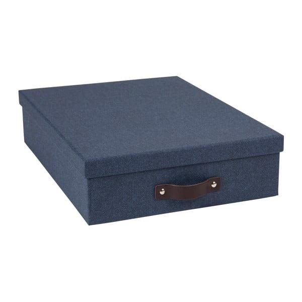 Tmavě modrý úložný box na dokumenty s koženým úchytem Bigso, velikost A4