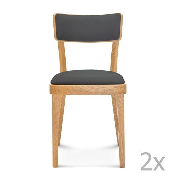 Sada 2 dřevěných židlí s šedým polstrováním Fameg Lone