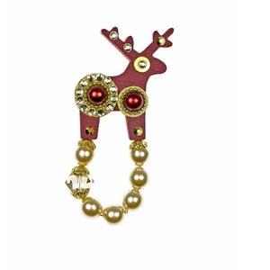 Červená brož Deers Bišoni,4cm