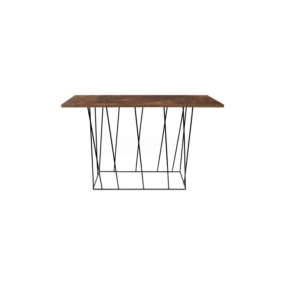 Produktové foto Hnědý konzolový stolek s černými nohami TemaHome Helix