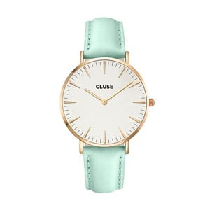 Dámské hodinky s mátově zeleným koženým řemínkem a detaily v barvě růžového zlata Cluse La Bohéme