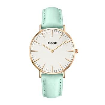 Ceas damă, curea din piele Cluse La Bohéme, verde mat-roz-auriu