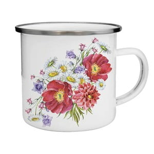 Smaltovaný hrnek s květinami TinMan, 200 ml