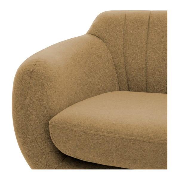 Canapea 3 locuri cu picioare negre Vivonia Kennet, nisip