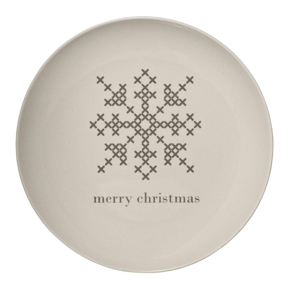 Bílý kameninový talíř Bloomingville Cross Christmas, ⌀ 25 cm