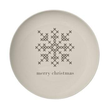 Farfurie din gresie ceramică Bloomingville Cross Christmas, ⌀ 25 cm, alb imagine