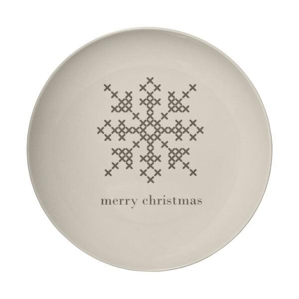 Biały kamionkowy talerz Bloomingville Cross Christmas, ⌀ 25 cm