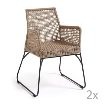 Set 2 scaune La Forma Novak, maro