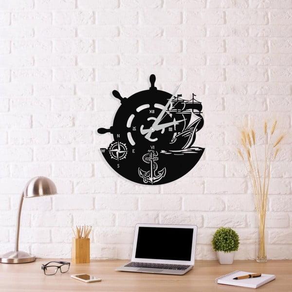 Černé nástěnné hodiny Anchor Clock V2, 48 x 50 cm