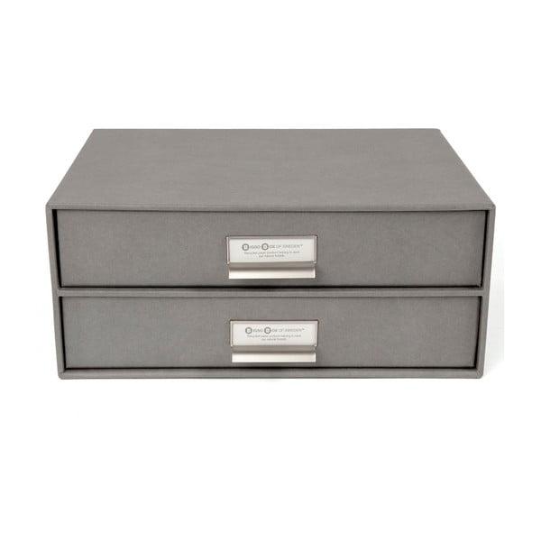 Šedý 2patrový šuplík na dokumenty Bigso, 33 x 22,5 cm