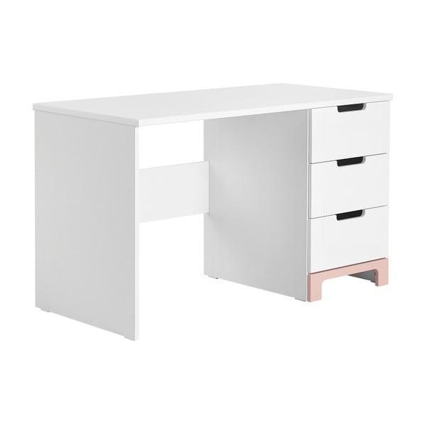 Bílo-růžový psací stůl Pinio Mini,délka120cm