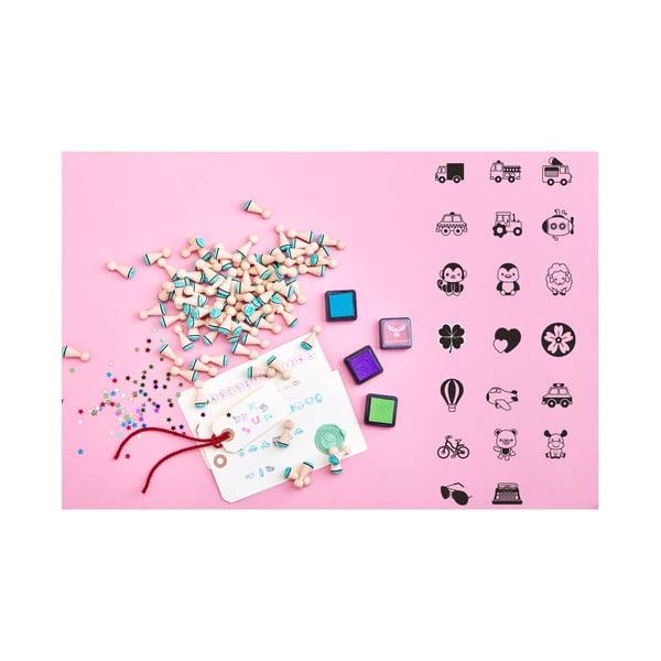 Mini razítka Lucky Little Moose Dobrodružná kolekce, 20 ks + 4 barvy