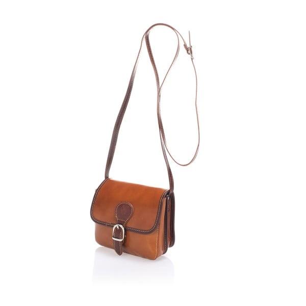 Koňakově hnědá kožená kabelka Lisa Minardi Laura