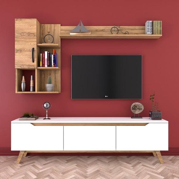 Zestaw białej szafki pod TV i 2 półek w dekorze drewna orzechowego Nut