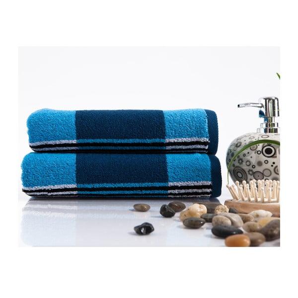 Sada 2 ručníků Stripe Blue, 45x90 cm