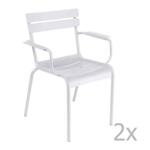 Sada 2 bílých židlí s područkami Fermob Luxembourg