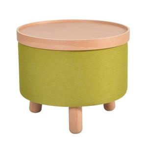 Zelená stolička s detaily z bukového dřeva a odnímatelnou deskou Garageeight Molde, ⌀50cm