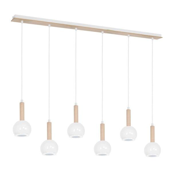 Biała lampa wisząca z drewnianymi detalami Bolle Seis