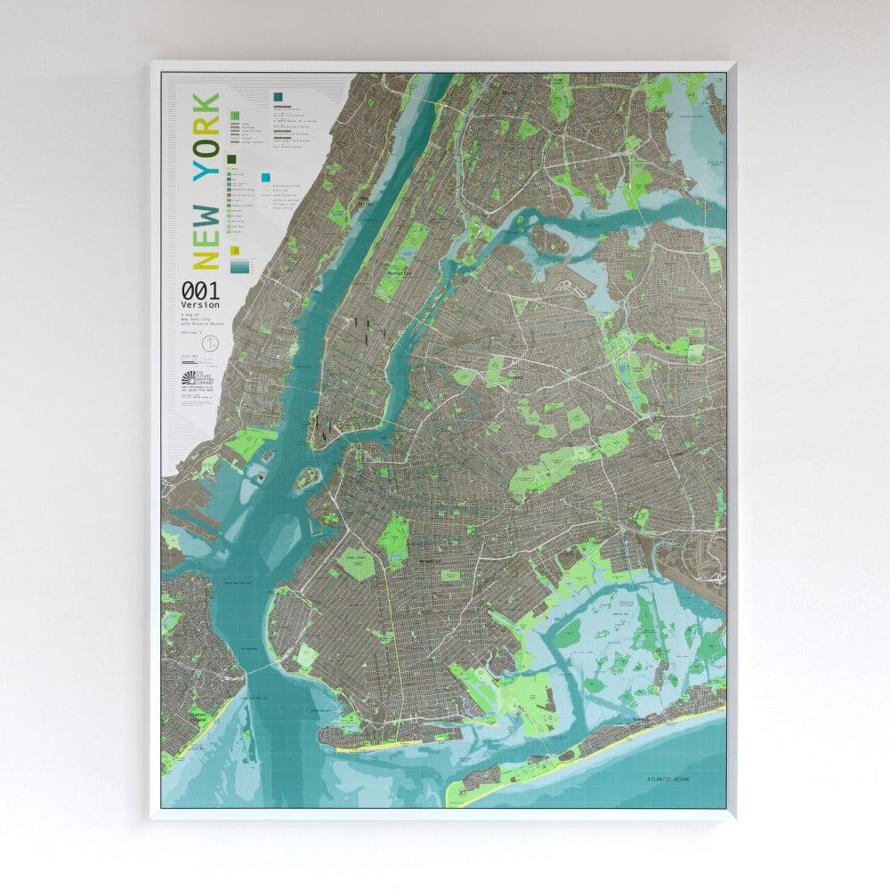 Zelená magnetická mapa New York City Street Map, 130x100cm