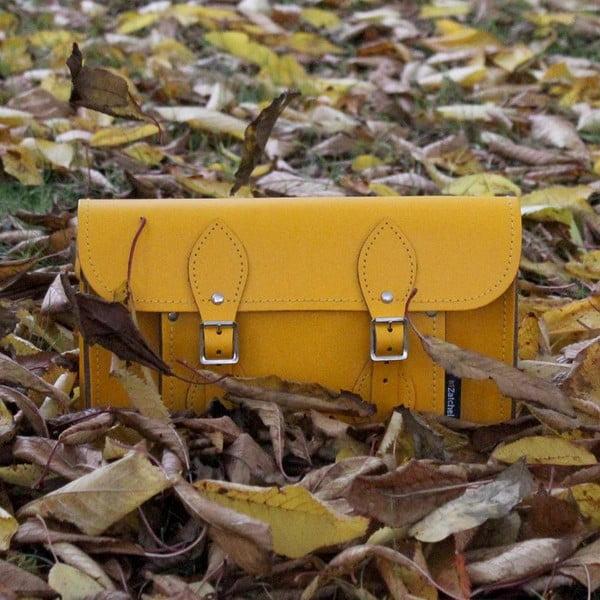 Kožená kabelka Satchel 29 cm, žlutá