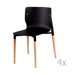 Sada 4 černých jídelních židlí s dřevěnými nohami sømcasa Alisia