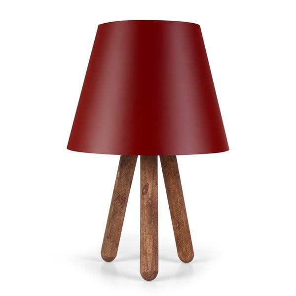 Kira Polly piros asztali lámpa bükkfa lábakkal