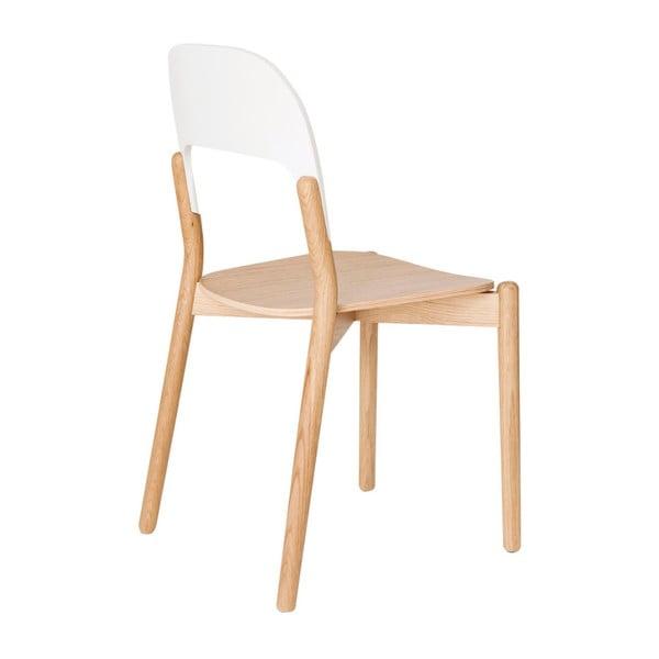 Židle z dubového dřeva s bílou opěrkou HARTÔ Paula