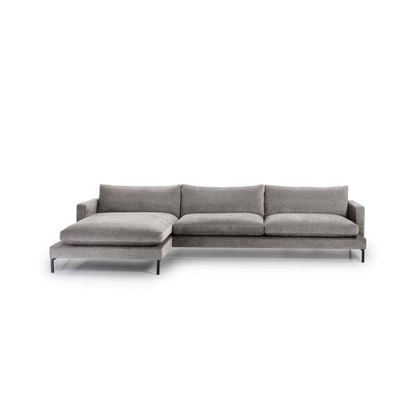 Leken szürke háromszemélyes kanapé, bal oldali fekvőfotellel - Softnord