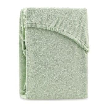 Cearșaf elastic pentru pat dublu AmeliaHome Ruby Olive Green, 180-200 x 200 cm, verde imagine