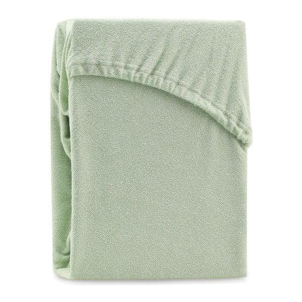 Ruby Olive Green zöld kétszemélyes gumis lepedő, 220-240 x 220 cm - AmeliaHome