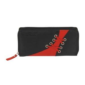 Černo-červená peněženka ztelecí kůže Friedrich Lederwaren Shoe