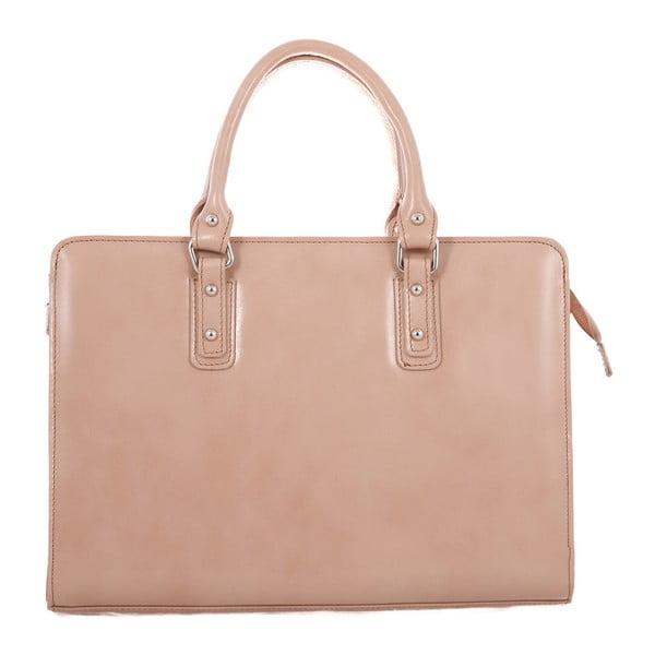 Taupe kožená taška Chicca Borse Paola