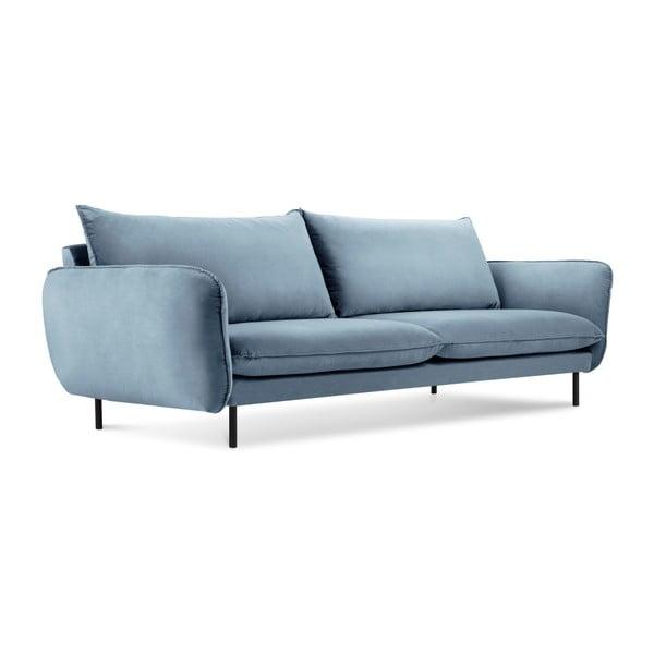 Canapea cu tapițerie de catifea Cosmopolitan Design Vienna, 200 cm, albastru deschis