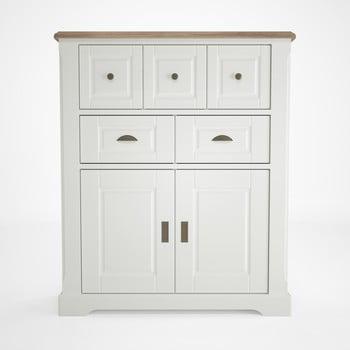 Vitrină din lemn cu 5 sertare Artemob Campton, alb de la Artemob