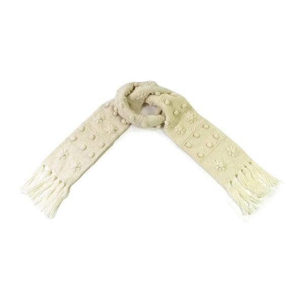 Vlněná šála s fleecovou podšívkou Bílé třásně