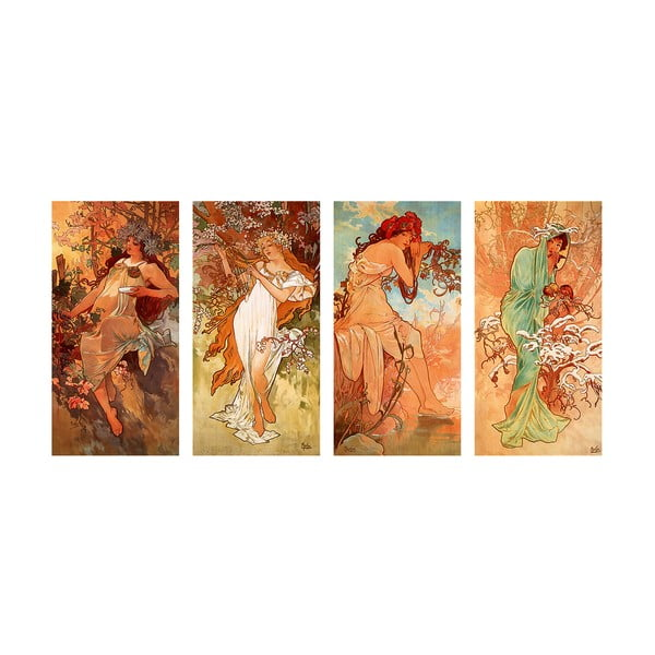 Reprodukce obrazu Alfons Mucha - Pory Roku, 80x40cm