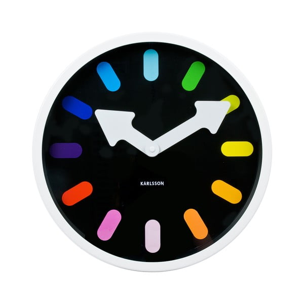 Hodiny Pictogram Rainbow black