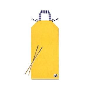 Žluté plážové lehátko Origama Blue Stripes