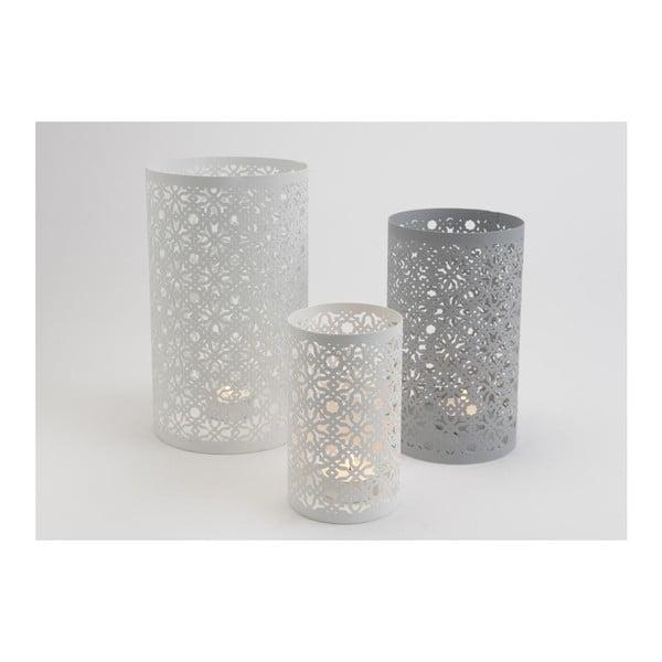 Set 3 kalíšků na svíčku Grey/White