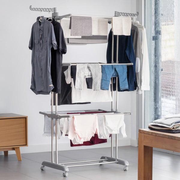 Šedý skládací stojan na prádlo na kolečkách InnovaGoods